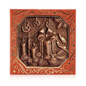 Шоколад барельефный элитный Подарок (квадрат 46 мм.)