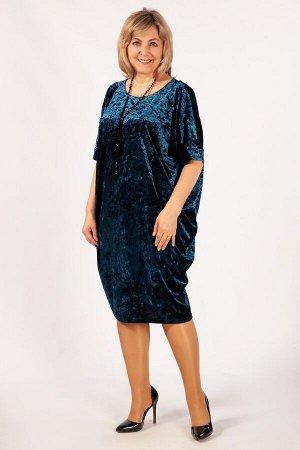 Платье черный, Баклажановый,  синий. Эффектное платье, выполнено из бархата стрейч. Силуэт «летучая мышь» и красивая драпировка будут прекрасно смотреться на любой фигуре. Вырез горловины округлый. На