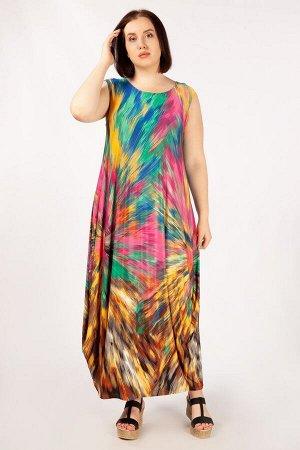 Платье Мультиколор, сиреневый/цветы, желтый/черный. Лёгкое платье в стиле «бохо», без рукавов, горловина округлая. Сейчас бохо – это образ жизни, платье подчёркивает женственность, при этом не стесняе