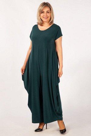 Комбинезон баклажановый, черный,  темно-синий,  темно-зеленый. Эффектный, нарядный комбинезон из легкого, струящегося трикотажного полотна. Модель пошита в стиле «бохо». Горловина округлой формы, сзад