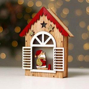 Новогодний декор с подсветкой «Домик с дед морозом» 14.5×3.8×18 см, красный