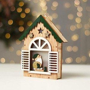 Новогодний декор с подсветкой «Домик с дед морозом» 14.5×3.8×18 см, зелёный