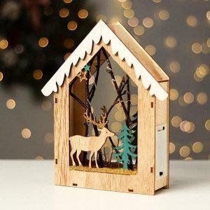 Новогодний декор с подсветкой «Домик с оленем» 18×5.5×22.5 см