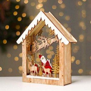 Новогодний декор с подсветкой «Домик с дед морозом в лесу» 18×5.5×22.5 см