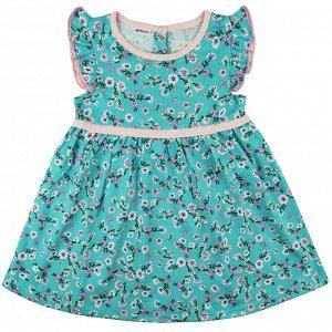 Платье бирюзовое кулирка 0198100203 для девочки