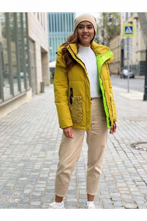 Женская куртка 866 светло-горчичная