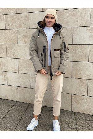 Женская куртка 9012-K202 темно-бежевая