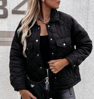 Женская демисезонная стеганая куртка на кнопках, цвет черный