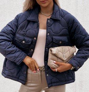 Женская демисезонная стеганая куртка на кнопках, цвет темно-синий
