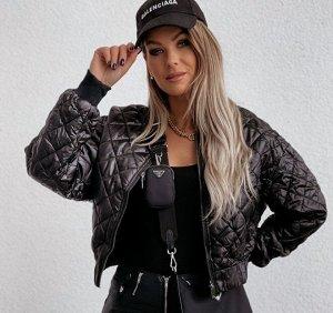 Женская демисезонная стеганая куртка на замке, цвет черный