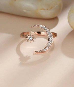 Позолоченное кольцо с цирконом и луной
