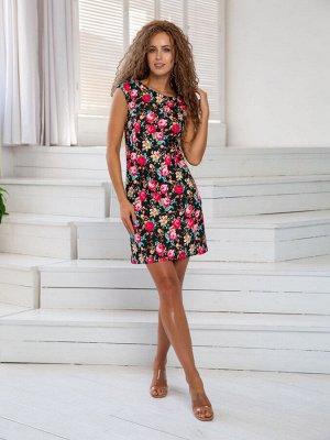 Платье Платье DoMira 01-598 черный/цветы  Состав: Хлопок-95%; Эластан-5%; Сезон: Лето Рост: 170  Платье из хлопка, приталенное, прямого покроя. Молния сзади.Длина изделия 85см.