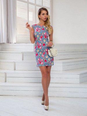 Платье Платье DoMira 01-598 голубой/цветы  Состав: Хлопок-95%; Эластан-5%; Сезон: Лето Рост: 170  Платье из хлопка, приталенное, прямого покроя. Молния сзади.Длина изделия 85см.