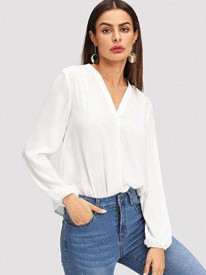 Белая Блуза С Длинным Рукавом и V-образным Вырезом