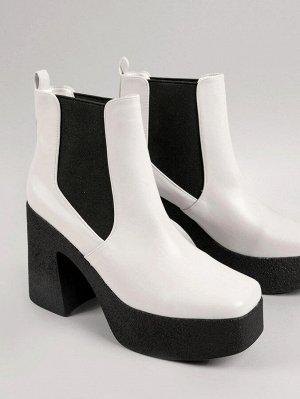 Кожаные ботинки челси на платформе