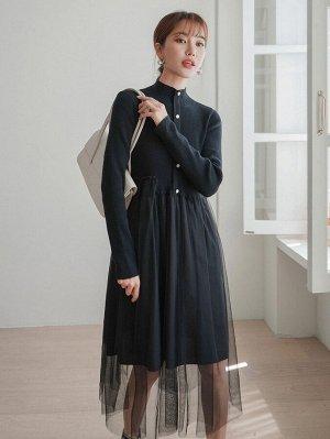 Контрастная сетка Пуговица Одноцветный Элегантный Женские платья свитера