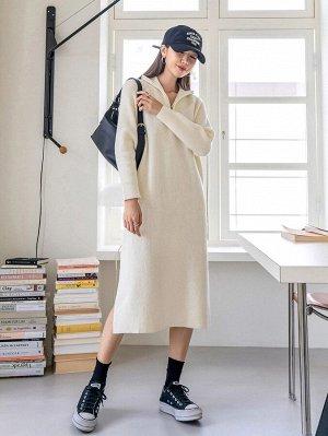 Платье-свитер с молнией с рукавом-реглан с разрезом