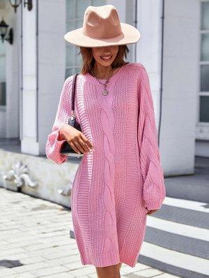 Платье-свитер с рукавом-реглан вязаный без пояса