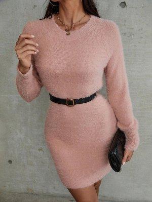 Платье-свитер с рукавом-реглан плюшевый вязаный без пояса