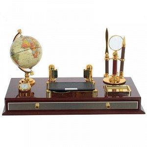 Настольный набор (глобус, визитница, блок/записей, часы, ручка, нож, лупа), L43 W23 H24 см