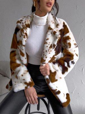 Пальто с коровьим принтом плюшевый