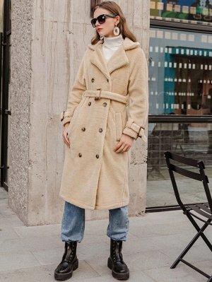 Simplee Пальто из искусственного меха с поясом и пуговицами