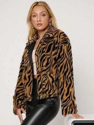 Пальто в полоску тигра принтом с карманами плюшевый