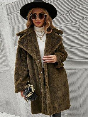 Пальто с каскадным воротником плюшевый