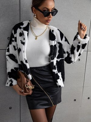 Графический принт Повседневный Женские пальто из искусственного меха