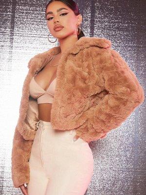 Кроп пальто из искусственного меха