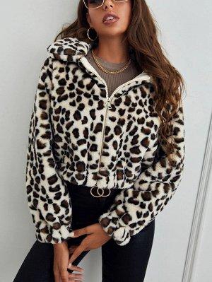 На молнии Леопард Повседневный Женские пальто из искусственного меха