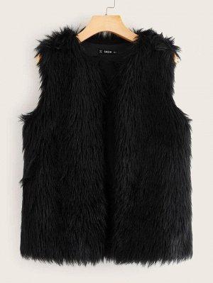 Пальто-жилет из искусственного меха без футболки