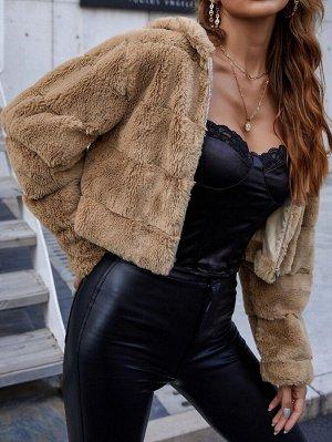 Пальто на молнии плюшевый