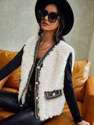 Жилет-пальто в полоску с отделкой плюшевый