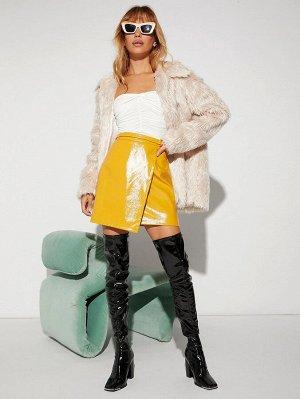 Контрастный искусственный мех Одноцветный Очаровательный Женские пальто из искусственного меха