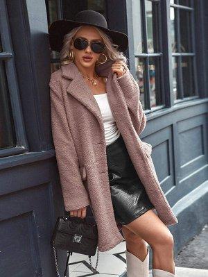Плюшевое пальто с пуговицами