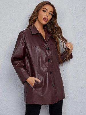 Пальто с пуговицами из искусственной кожи