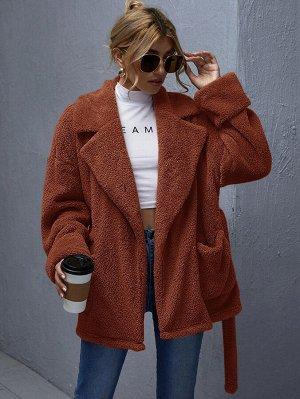 Плюшевое пальто с поясом и карманом