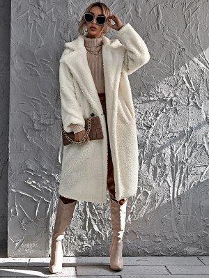 Плюшевое пальто с двойной пуговицей