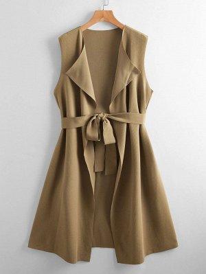 Вязаное пальто-жилет в рубчик