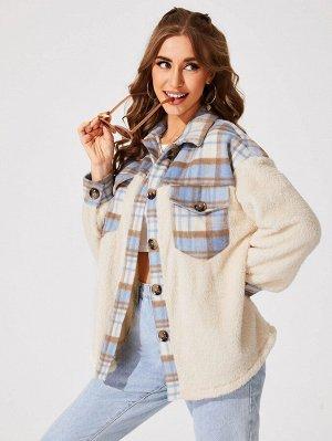Плюшевое пальто в клетку контрастный Контрастный с карманом