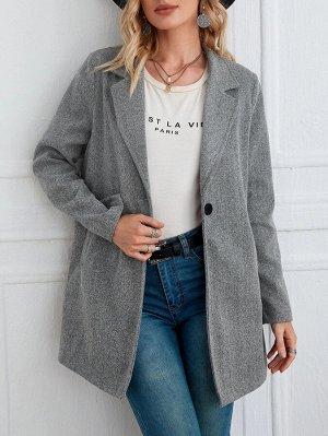 Пальто с лацканами с карманом