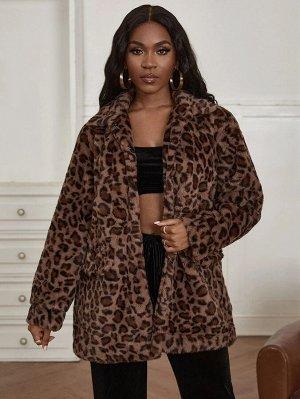 Тедди пальто с леопардовым принтом