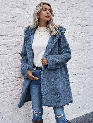 Однотонное плюшевое пальто с капюшоном и пуговицами