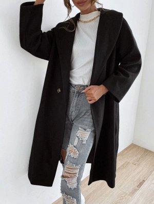 Пальто из смесовой шерсти с воротником-шалькой и пуговицами