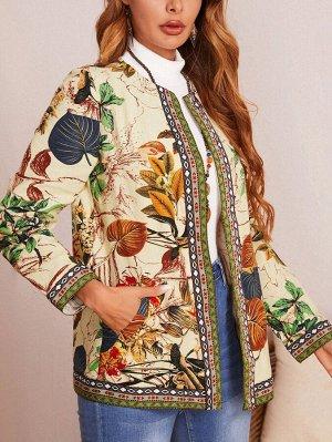 Пальто с ботаническим принтом вышивка с карманом