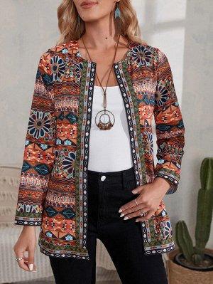 Пальто с цветочным и геометрическим принтом