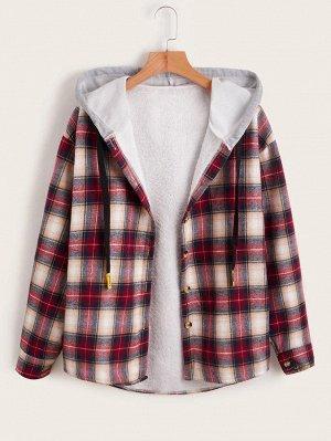Пальто с капюшоном в клетку плюшевый с подкладкой на кулиске
