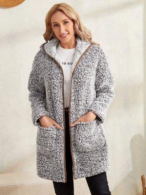 Пальто контрастной отделкой с карманом с капюшоном фланелевый