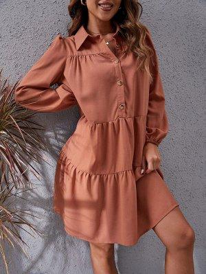 Платье на пуговицах с пышным рукавом